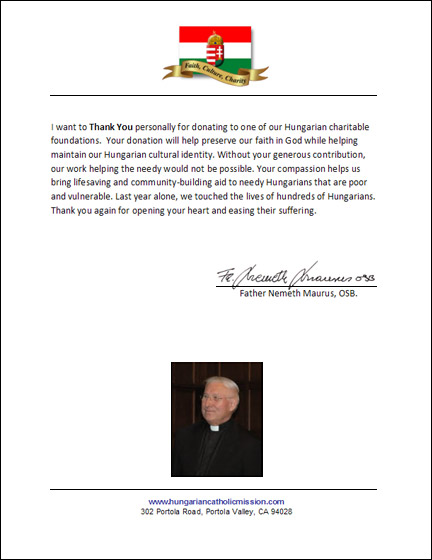 Hungarian Catholic Mission Thank You Letter